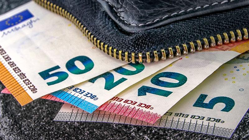 Geld, Euro, Bargeld, Portemonnaie, Lohn