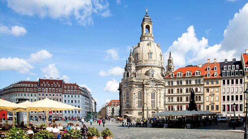 Frauenkirche, Dresden, Stadt, Marktplatz, Menschen, Cafe
