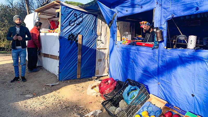Griechenland, Flüchtlingslager, Flüchtlinge, Kiosk, Verkauf, Lebensmittel