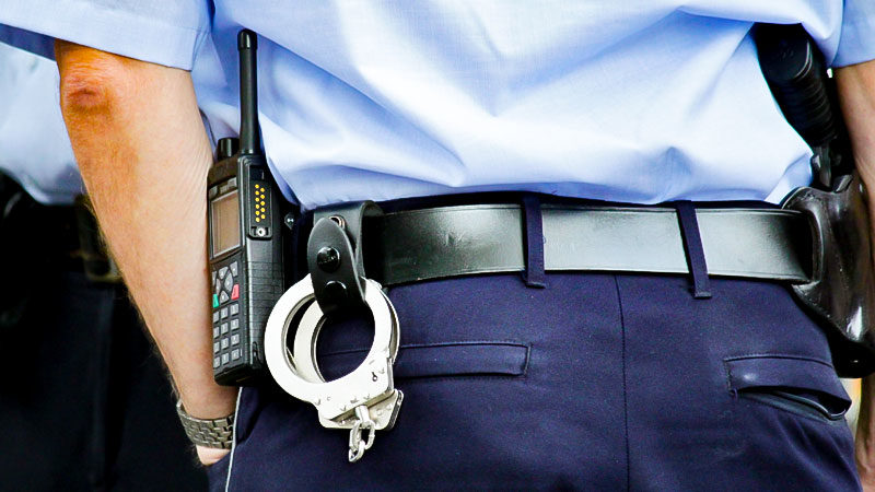 Polizei, Handschelle, Funkgerät, Polizist