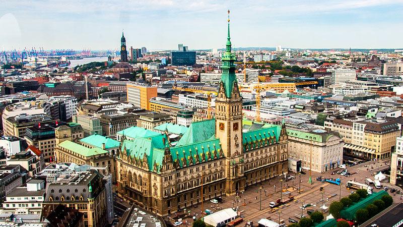 Hamburg, Rathaus, Stadt, Panorama, Senat