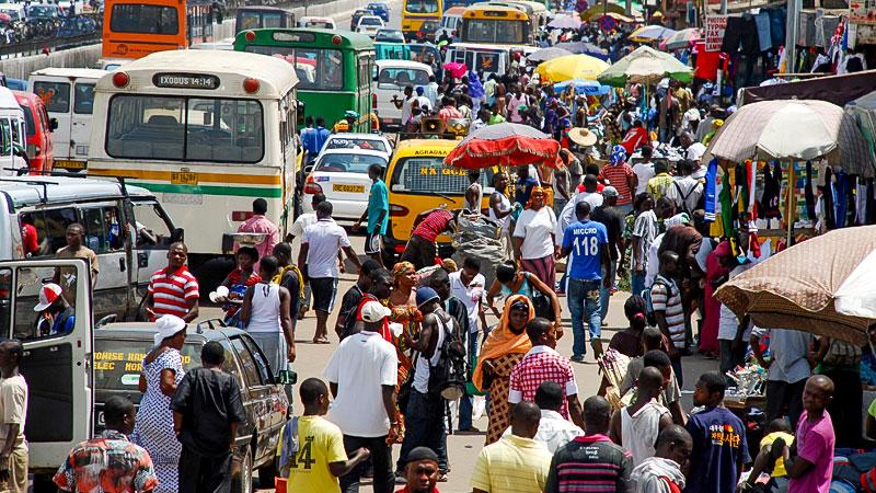 Afrika, Ghana, Straße, Menschen, Stadt, Verkehr