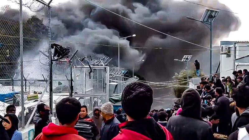 Brand, Flüchtlinge, Flüchtlingslager, Griechenland