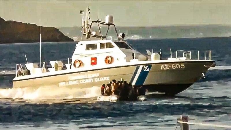 Schlauchboot, Flüchtlinge, Meer, Griechenland