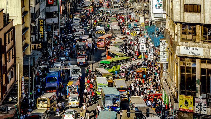 Stadt, Afrika, Straße, Verkehr, Nairobi, Kenia
