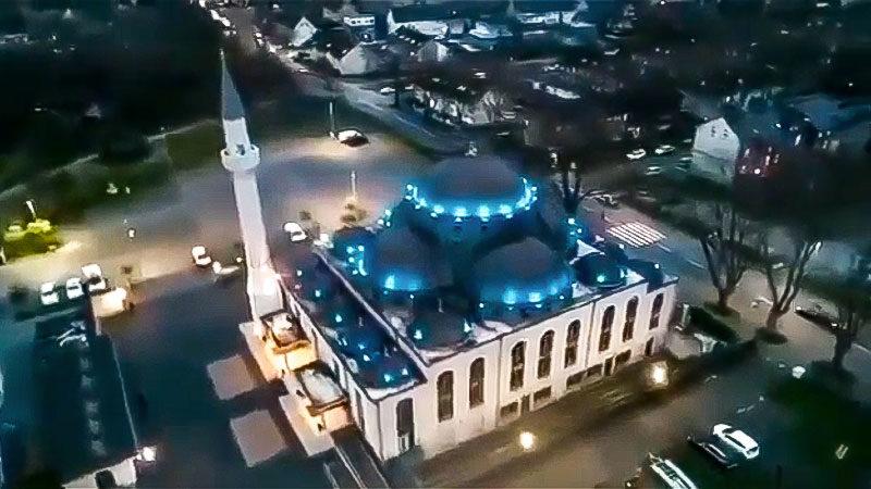Moschee, Minarette, Duisburg, Nacht, Gebetsruf, Stadt