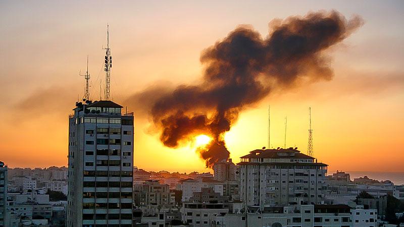 Rakete, Bombe, Rauch, Krieg, Sonnenuntergang