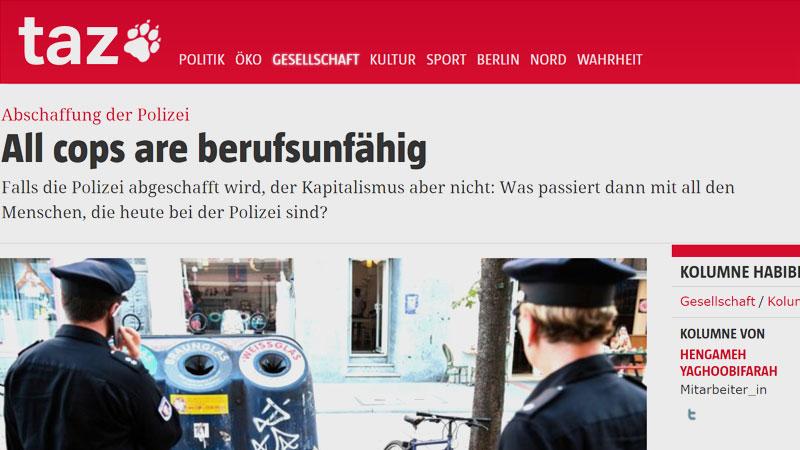 taz, Tageszeitung, Polizei, Kolumne, Seehofer