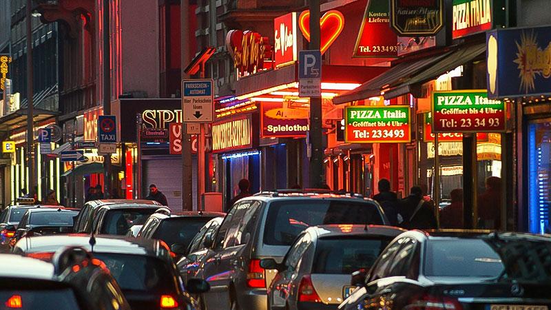 Rotlichtmilieu, Party, Feier, Straße, Stadt