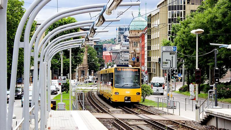 Straßenbahn, Bahn, Stadt, Stuttgart, Straße
