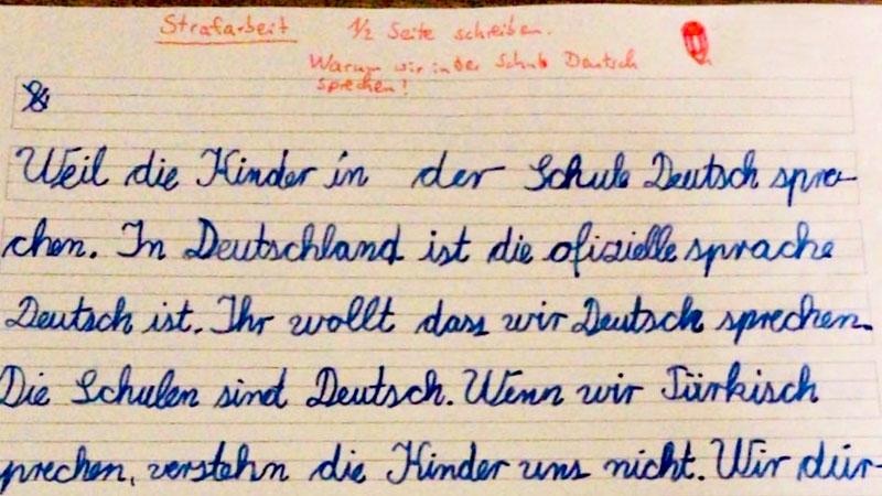 Strafarbeit, Deutschpflicht, Türkisch, Sprache, Muttersprache, Schule, Bildung