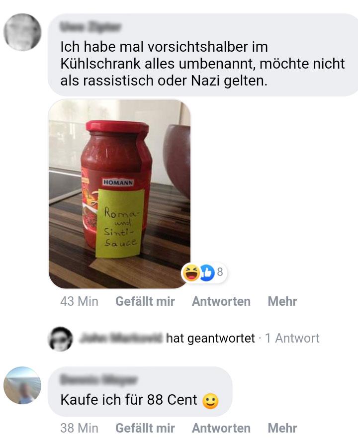 Facebook, Rassismus, Nazis, Rechtsextremismus, Zigeunersauce