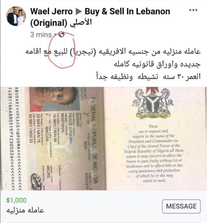 Sklaverei, Nigerianerin, Libanon, Arbeitsmigranten