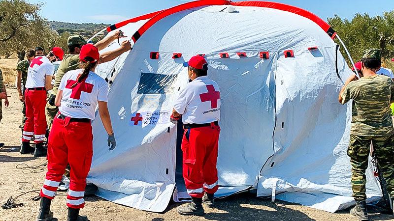 Rotes Kreuz, Flüchtlingslager, Griechenland, Zelt, Hilfe