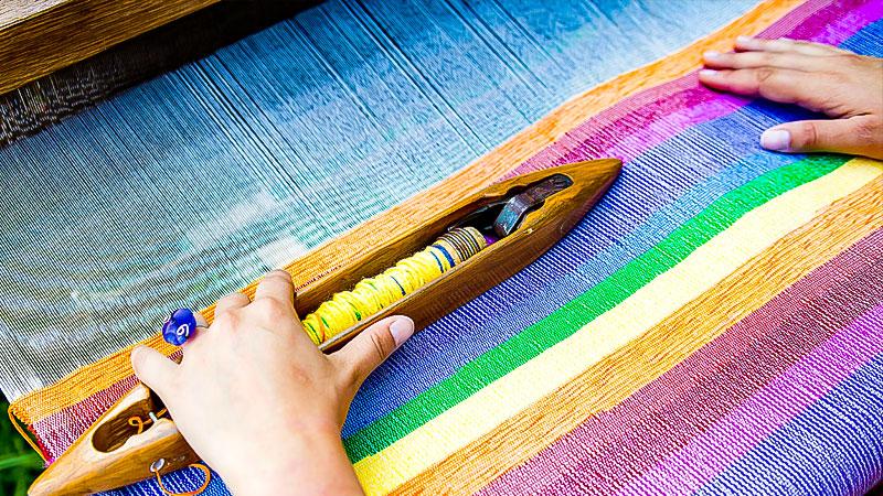 Textil, Arbeit, Webstuhl, Weberei, Stoff, Wolle, Grüner Knopf