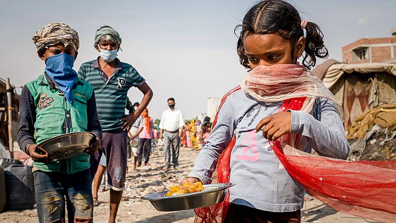 Essen, Hunger, Kinder, Armut, Indien, Essensausgabe