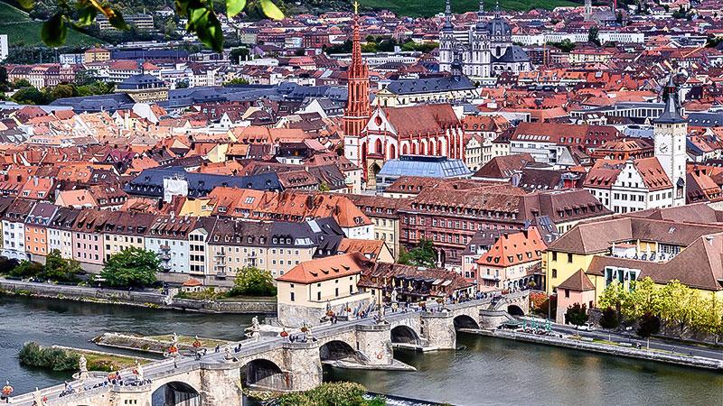 Würzburg, Stadt, Panorama, Häuser, Gebäude, Fluss