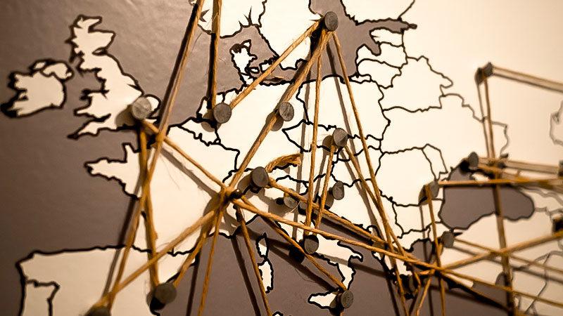 Europa, Karte, Vernetzt, Reise, Urlaub, Pinnwand