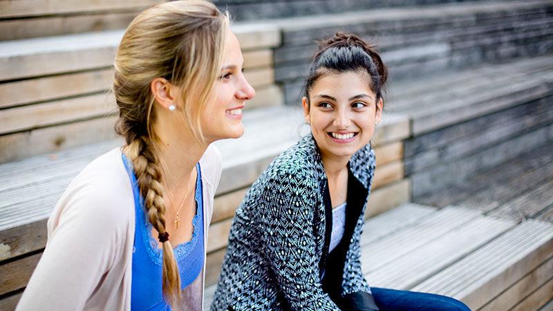 Mentor, Frauen, Mädchen, Paten, Integration, Freunde, Lachen, Lächeln