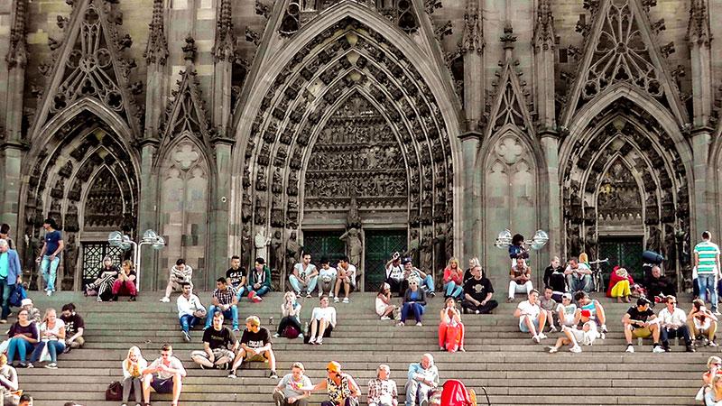 Menschen, Dom, Köln, Gesellschaft, Sitzen, Treppe