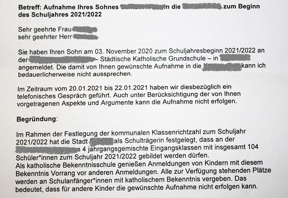 Katholische Grundschule, NRW, Schule, Bildung, Schüler, Ablehnungsschreiben