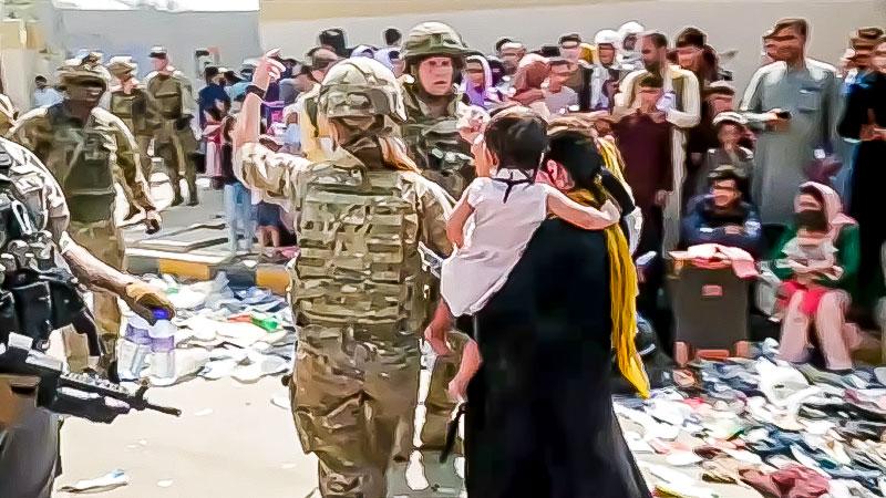 Flughafen, Soldaten, Kabul, Afghanistan, Mutter, Kind