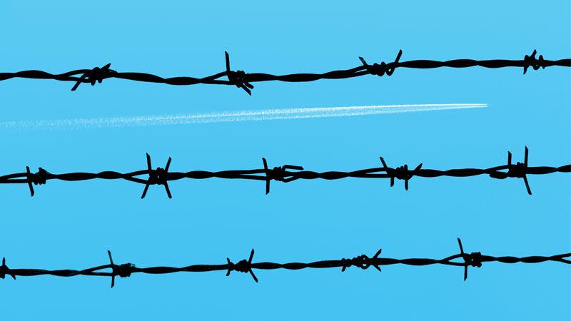 Stacheldraht, Zaun, Flugzeug, Abschiebung, Gefängnis, Freiheit
