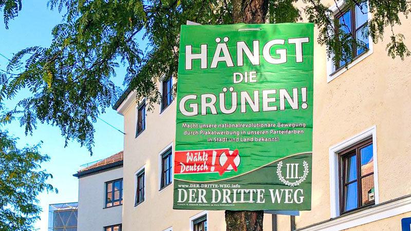 Wahlplakat, Der Dritte Weg, Rechtsextremismus, Neonazis, Die Grünen